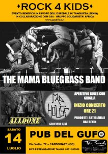 Concerto Blues - ROCK 4 KIDS - THE MAMA BLUEGRASS BAND - 14 luglio 2018 - PUB DEL GUFO - Carbonate (Como)